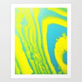 Yellow Blue Abstract Animal Print Acrylic Art Print