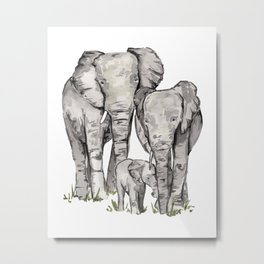 Elephant Family, Elephant Watercolor Painting, Animal Family Metal Print