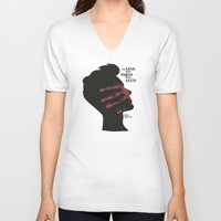 casablanca V-neck T-shirts featuring The Man who Knew Too Much - Alfred Hitchcock Movie Poster Minimal by Stefanoreves