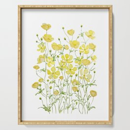 yellow buttercup flowers filed watercolor  Serving Tray