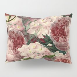 Vintage & Shabby Chic Pink Dark Floral Roses Lilacs Flowers Watercolor Pattern Pillow Sham