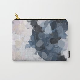 Navy Black Beige Lavender Abstract Art Moonlight Ocean Painting Carry-All Pouch