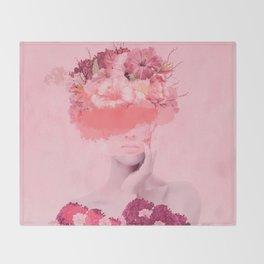 Woman in flowers Throw Blanket