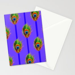 Decorative Contemporary  Peacock Feathers Art Stationery Cards