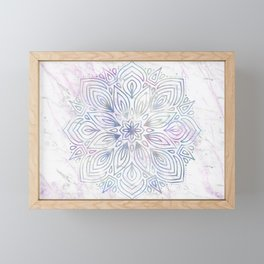 Marble Mandala - Purple Blue Rose Gold Framed Mini Art Print