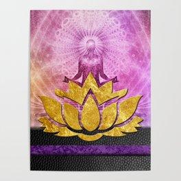 Crown Chakra Meditation & Gold Metallic Lotus Poster