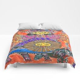 Madhubani - Orange Durga Comforters