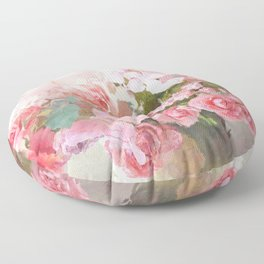 Paris Impressionistic Roses Floral Decor Floor Pillow