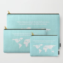 World Map with inspirational Dr. Seuss quote in teal, green, mint Carry-All Pouch