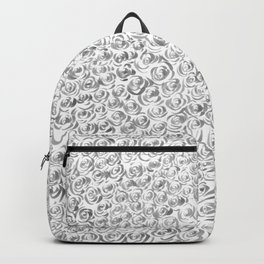 Gray and White Rose Flurry Backpack
