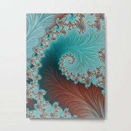 Velvet Crush Bright Aqua - Fractal Art  Metal Print
