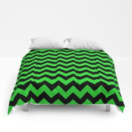 Large Black and Bright Monster Green Halloween Chevron Stripes Comforters