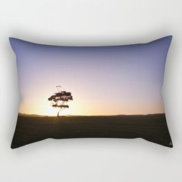 Lonely tree silhouette on open field at sunset - Landscape photography Rectangular Pillow