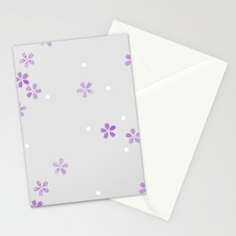 Cherry Blossoms in Violet Stationery Cards