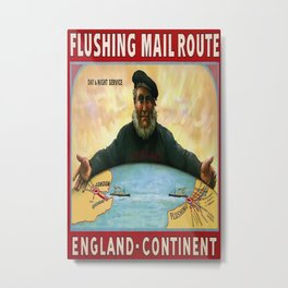 Flushing Mail Route Vintage Travel Poster Metal Print