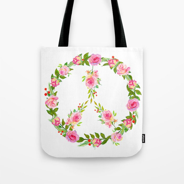 Pink Rose Peace Wreath Tote Bag