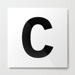 Letter C (Black & White) Metal Print