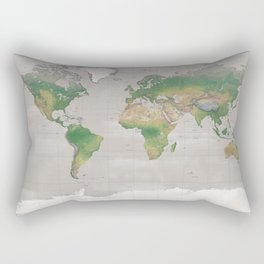Rustic physical world map in taupe Rectangular Pillow