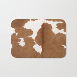 Tan and white cowhide texture Bath Mat