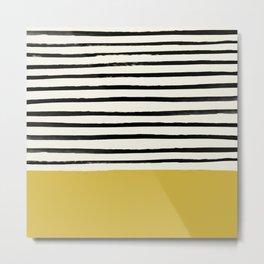 Mustard Yellow & Stripes Metal Print