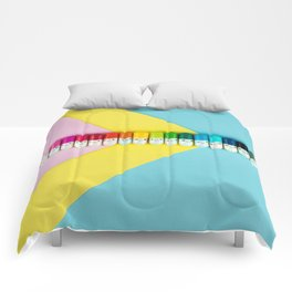 Happy little rainbow pills Comforters