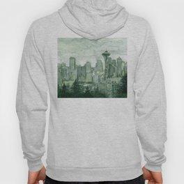Seattle Skyline Watercolor Space Needle Emerald City 12th Man Art Hoody