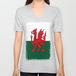 Y Ddraig Goch Grunge Welsh Flag Unisex V-Neck