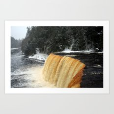 Wintry Waterfall Art Print