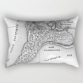 Map of the Mysterious Island - Jules Verne - Vintage Map Rectangular Pillow