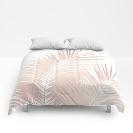 Rose Gold Palm Leaves Dream - Cali Summer Vibes #1 #tropical #decor #art #society6 Comforters