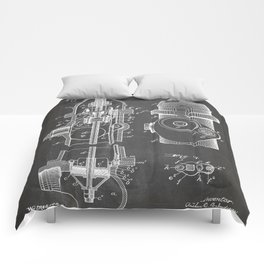 Fire Fighter Patent - Fire Hydrant Art - Black Chalkboard Comforters