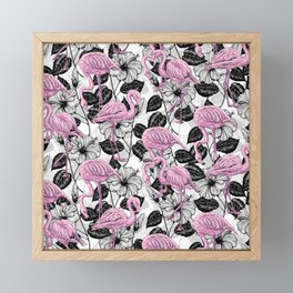 Flamingos and hibiscus flowers Framed Mini Art Print