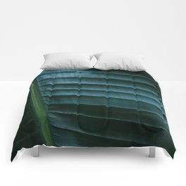 Botanical photography print | Dark green tropical leaf of a palm | Jungle Wanderlust art Comforters