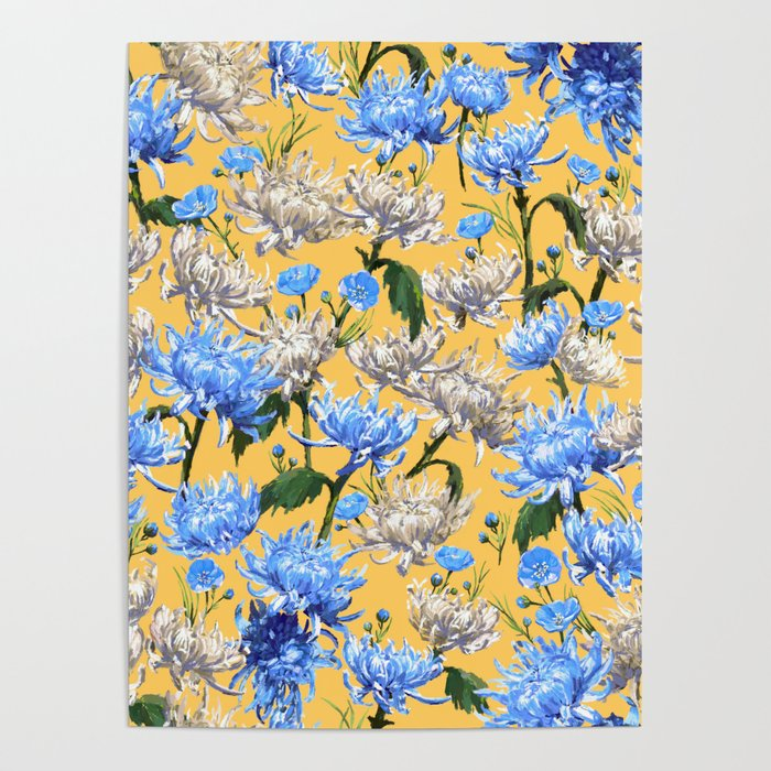 Mums Pattern  |  Yellow-Blue-Cream-White Poster