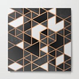 Black and White Mosaic Metal Print