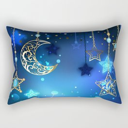 Gold Crescent on Blue Background Rectangular Pillow