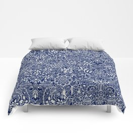 Detailed Floral Pattern in White on Navy Comforters