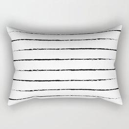 Minimal Simple White Background Black Lines Stripes Rectangular Pillow