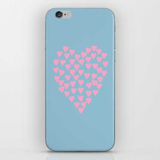 Hearts Heart Pink on Blue iPhone & iPod Skin
