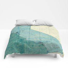 California State Map Blue Vintage Comforters