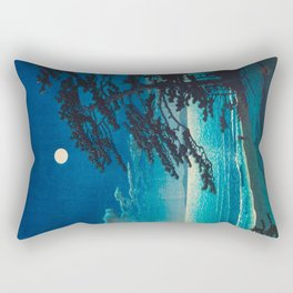 Vintage Japanese Woodblock Print Moonlight Over Ocean Japanese Landscape Tall Tree Silhouette Rectangular Pillow