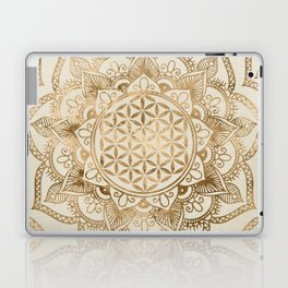 Flower of Life in Lotus - pastel golds and canvas Laptop & iPad Skin