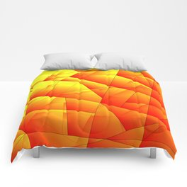 Bright pattern of red and yellow triangles and irregularly shaped lines. Comforters