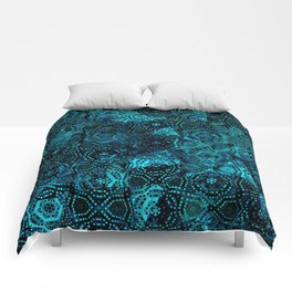Starry Deep Blue Night Sky , Abstract Geometric Pattern with Moon Lit Domino Stars Comforters