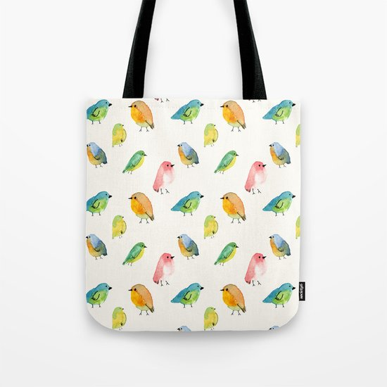 Watercolor Birds Pattern Tote Bag