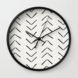 Mud Cloth Big Arrows in Cream Wall Clock