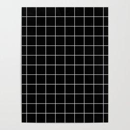 12 Grid Black White Minimal Modern Boho Poster