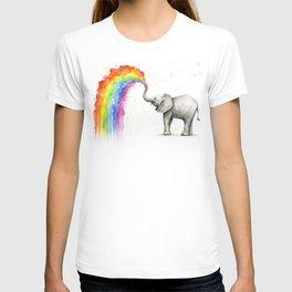 Baby Elephant Spraying Rainbow T-Shirt