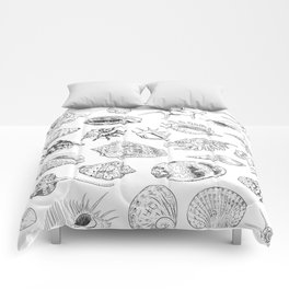 collection of sea shells, black contour on white background Comforters