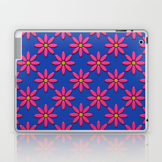 Pink Flowers on Blue Field Laptop & iPad Skin